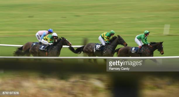 Naas Ireland 19 November 2017 Mtada Supreme with Benny Walsh up leads on their way to winning the steeplechase race at Punchestown Racecourse in Naas...