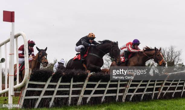 Naas Ireland 19 November 2017 Top Othe Ra with David Mullins up right leads Yaha Fizz with Ryan Treacy up over the last on their way to winning the...