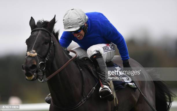 Naas Ireland 19 November 2017 Woodland Opera with Robbie Power up on their way to winning the novice steeplechase at Punchestown Racecourse in Naas...