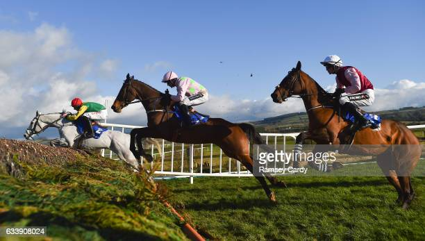 Naas Ireland 5 February 2017 Smashing left with Davy Russell up Douvan centre with Ruby Walsh up and Draycott Place with Danny Mullins up jump the...