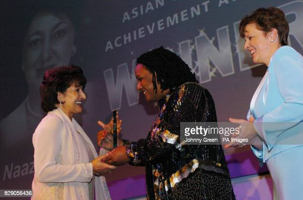 Naaz Coker from Kent receives the Public Sector Award from Dianne Abbott MP at the Asian Women of Achievements Awards held at the Park Lane Hilton in...