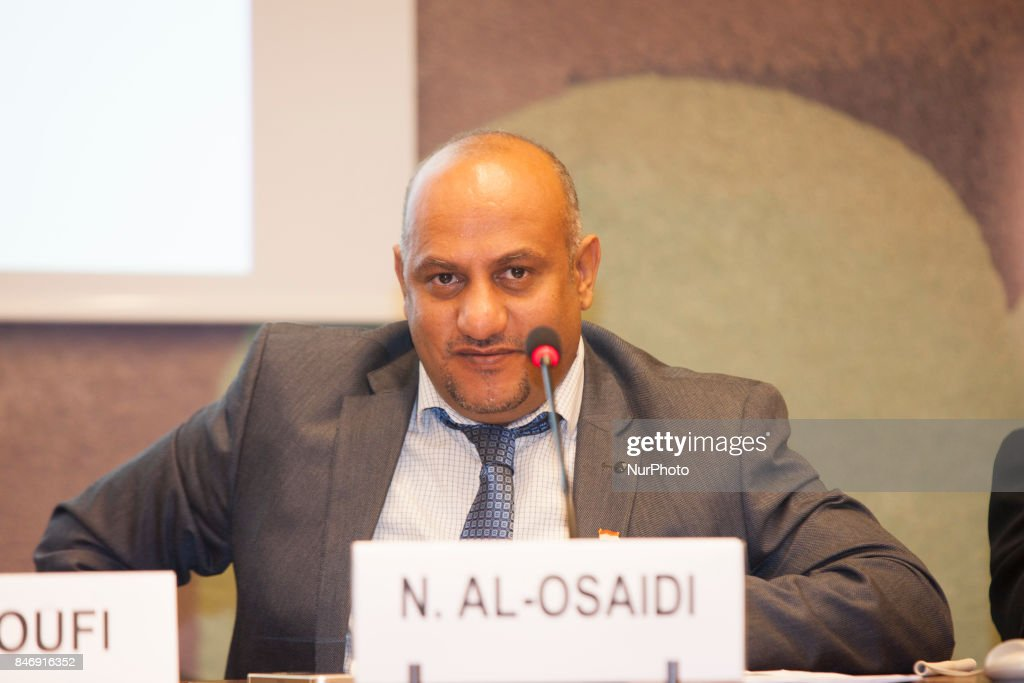 Nabil Al-Osaidi at United Nations in Geneva, Switzerland on 13 September 2017. In a special report on the human rights situation presented on September 13, 2017, at the 36th session of the Human Rights Council in Geneva,The Yemeni Coalition for Monitoring Human Rights Violations in Yemen called on the Human Rights Council to compel the Houthis and Saleh militias to implement the Council's resolutions on Yemen.