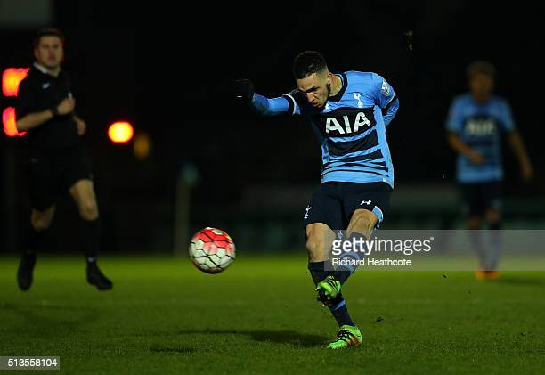 Nabil Bentalab of Spurs hits the post with a long range shot during the Barclays U21 Premier League match between Reading U21 and Tottenham Hotspur...