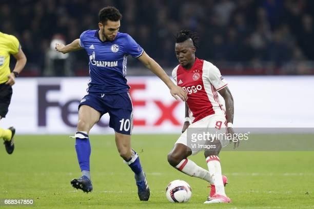 Nabil Bentaleb of FC Schalke 04 Bertrand Traore of Ajaxduring the UEFA Europa League quarter final match between Ajax Amsterdam and FC Schalke 04 at...