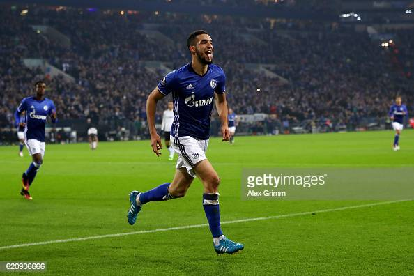 Nabil Bentaleb of FC Schalke 04 celebrates scoring his team's second goal during the UEFA Europa League Group I match between FC Schalke 04 and FC...