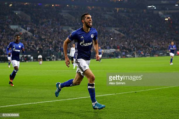 Nabil Bentaleb of FC Schalke 04 celebrates scoring his team's second goal during the UEFA Europa League Group I match between FC Schalke 04 and FC...
