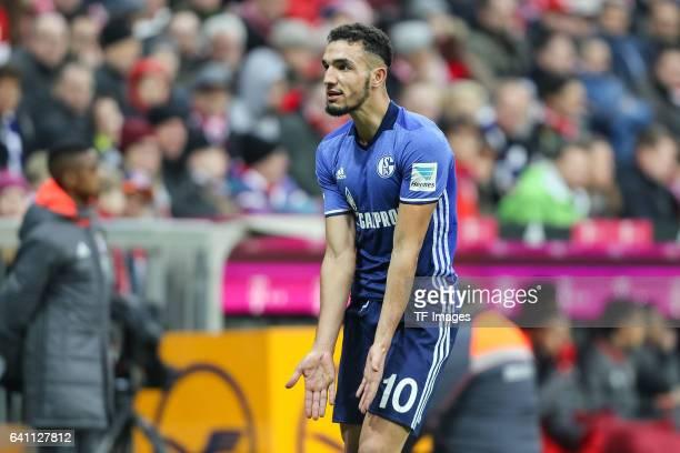 Nabil Bentaleb of FC Schalke 04 gestures during the Bundesliga match between Bayern Muenchen and FC Schalke 04 at Allianz Arena on February 4 2017 in...