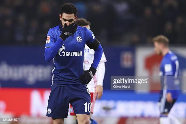 Nabil Bentaleb of Schalke appears frustrated during the Bundesliga match between Hamburger SV and FC Schalke 04 at Volksparkstadion on December 20...