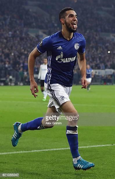 Nabil Bentaleb of Schalke celebrates his team's second goal during the UEFA Europa League Group I match between FC Schalke 04 and FC Krasnodar...