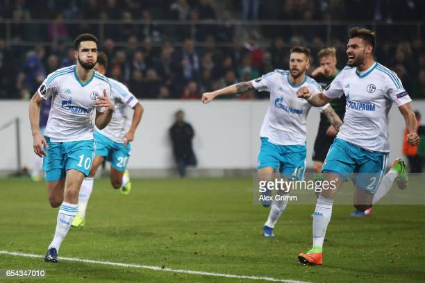 Nabil Bentaleb of Schalke celebrates his team's second goal during the UEFA Europa League Round of 16 second leg match between Borussia...