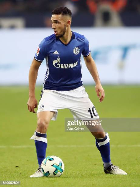 Nabil Bentaleb of Schalke controls the ball during the Bundesliga match between FC Schalke 04 and FC Bayern Muenchen at VeltinsArena on September 19...