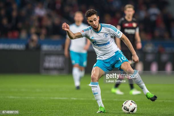 Nabil Bentaleb of Schalke in action during the Bundesliga match between Bayer 04 Leverkusen and FC Schalke 04 at BayArena on April 28 2017 in...