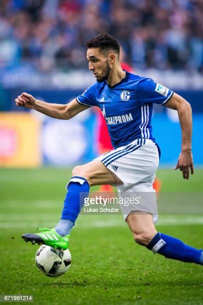 Nabil Bentaleb of Schalke in action during the Bundesliga match between FC Schalke 04 and RB Leipzig at VeltinsArena on April 23 2017 in...