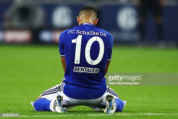 Nabil Bentaleb of Schalke reacts to a missed chance on goal during the Bundesliga match between FC Schalke 04 and 1 FC Koeln at VeltinsArena on...
