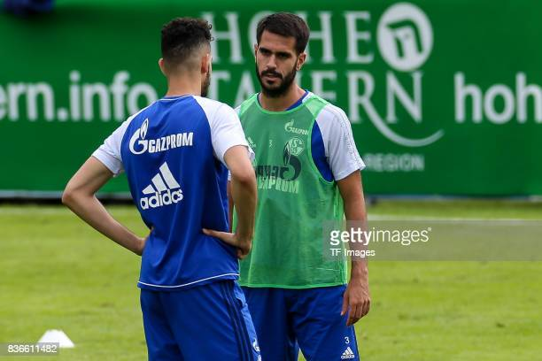 Nabil Bentalep of Schalke speak with Pablo Insua of Schalke during the Training Camp of FC Schalke 04 on July 27 2017 in Mittersill Austria
