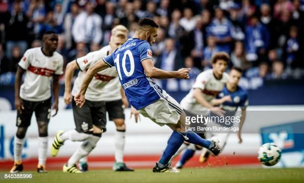 Nabil Bentalep scores his teams first goal during the Bundesliga match between FC Schalke 04 and VfB Stuttgart at VeltinsArena on September 10 2017...