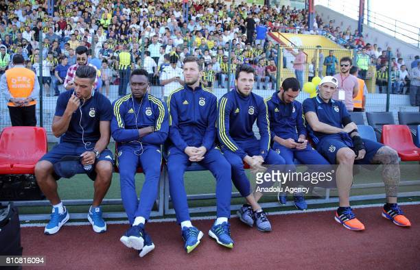 Nabil Dirar and Goal keeper Kameni of Fenerbahce watch the practice match between Fenerbahce and Juventus Bucharest at 18th July Stadium in Duzce...