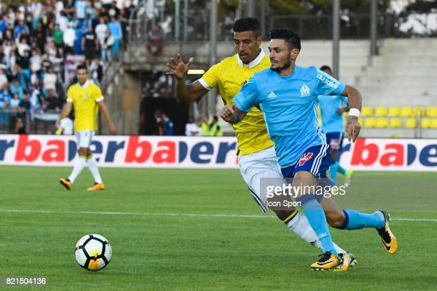 Nabil Dirar and Remy Cabella during the friendly match between Olympique de Marseille and Fenerbahce on July 15 2017 in Lausanne Switzerland