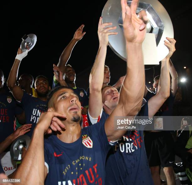Nabil Dirar Kamil Glik of Monaco during the French League 1 Championship title celebration following the French Ligue 1 match between AS Monaco and...