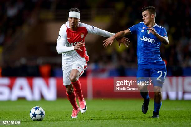 Nabil Dirar of AS Monaco competes with Paulo Dybala of Juventus FC during the UEFA Champions League Semi Final first leg football match between AS...