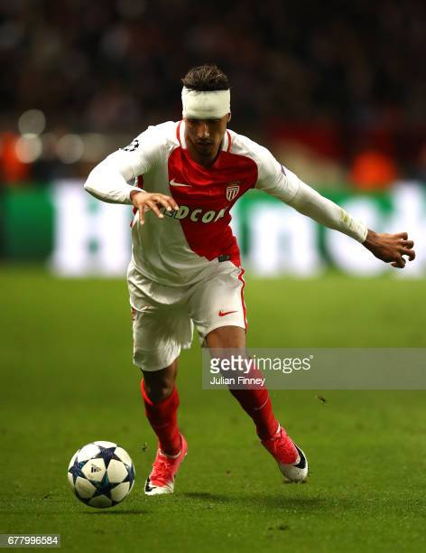 Nabil Dirar of AS Monaco in action irst leg match between AS Monaco v Juventus at Stade Louis II on May 3 2017 in Monaco Monaco