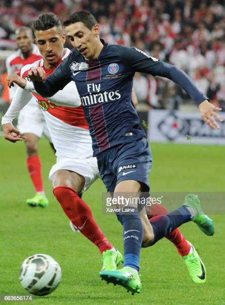 Nabil Dirar of AS Monaco in action with Angel Di Maria of Paris SaintGermain during the French League Cup Final match between Paris SaintGermain and...