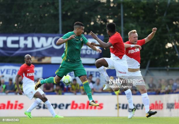 Nabil Dirar of Fenerbahce and Jemerson De Nascimento of Monaco vie for the ball during friendly game between Fenerbahce and Monaco at Chailly Stadium...