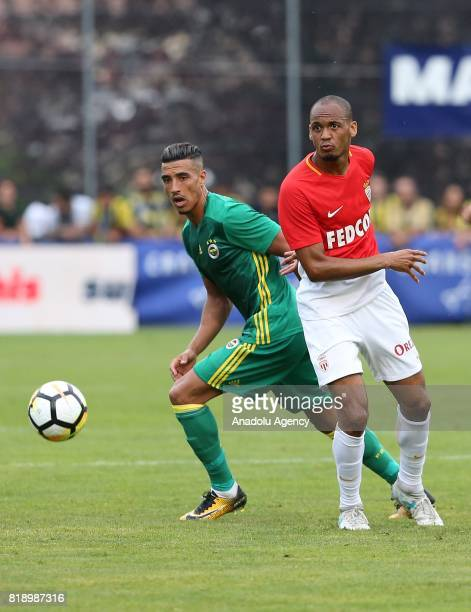 Nabil Dirar of Fenerbahce and Tavares Fabinho of Monaco vie for the ball during friendly game between Fenerbahce and Monaco at Chailly Stadium in...