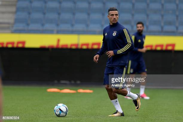 Nabil Dirar of Fenerbahce attends a training session ahead of the UEFA Europa League third qualifying round match between Sturm Graz and Fenerbahce...