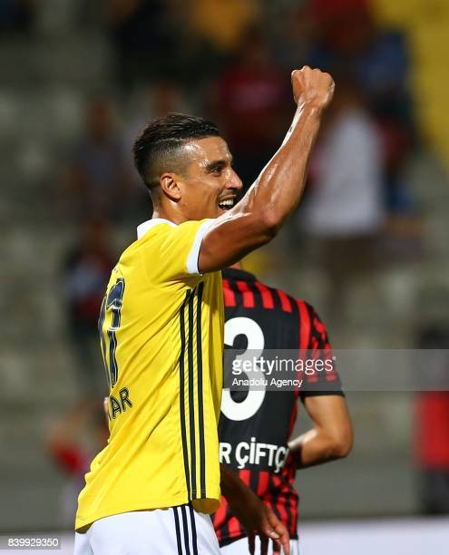 Nabil Dirar of Fenerbahce celebrates after a goal during Turkcell Super Lig soccer match between Genclerbirligi and Fenerbahce at 19 Mays Stadium in...