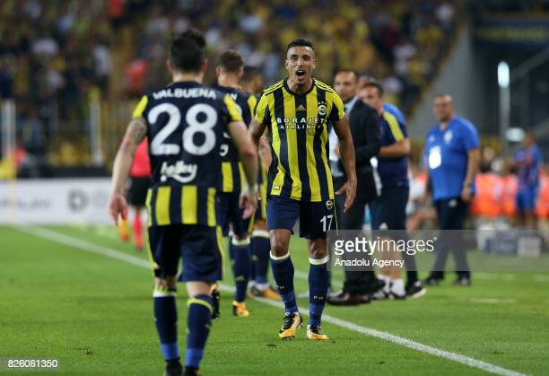 Nabil Dirar of Fenerbahce celebrates after scoring a goal during the UEFA Europa League third qualifying round 2nd leg match between Fenerbahce and...
