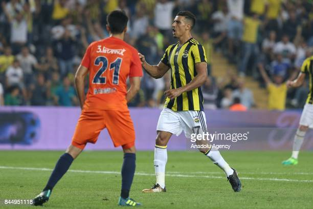 Nabil Dirar of Fenerbahce celebrates after scoring during the Turkish Super Lig match between Fenerbahce and Medipol Basaksehir at Ulker Stadium in...