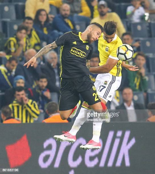 Nabil Dirar of Fenerbahce in action against Adem Buyuk of Evkur Yeni Malatyaspor during the Turkish Super Lig match between Fenerbahce and Evkur Yeni...