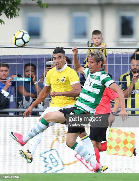 Nabil Dirar of Fenerbahce in action against Fabio Coentrao of Sporting CP during a practice match between Fenerbahce and Sporting Clube de Portugal...