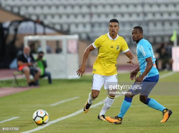 Nabil Dirar of Fenerbahce in action against Patrice Evra of Olympique de Marseille during a friendly match between Fenerbahce and Olympique de...