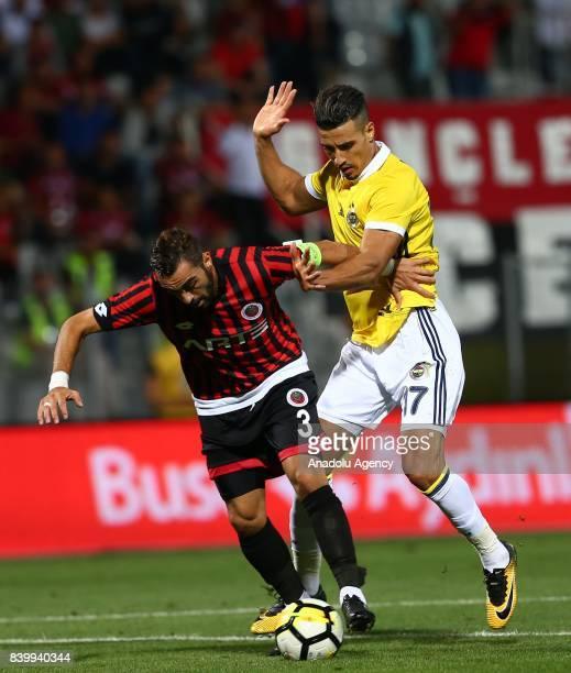 Nabil Dirar of Fenerbahce in action against Ugur Ciftci of Genclerbirligi during Turkcell Super Lig soccer match between Genclerbirligi and...