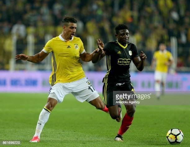 Nabil Dirar of Fenerbahce in action during the Turkish Super Lig match between Fenerbahce and Evkur Yeni Malatyaspor at Sukru Saracoglu Stadium in...