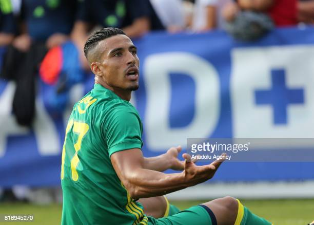Nabil Dirar of Fenerbahce reacts against the referee's decision during friendly game between Fenerbahce and Monaco at Chailly Stadium in Montreux...