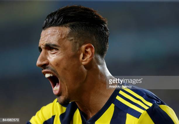 Nabil Dirar of Fenerbahce reacts during the Turkish Super Lig match between Fenerbahce and Medipol Basaksehir at Ulker Stadium in Istanbul Turkey on...