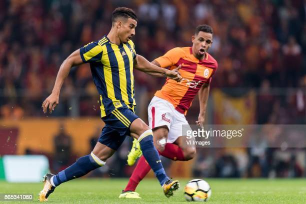 Nabil Dirar of Fenerbahce SK Fernando Fransisco Reges of Galatasaray SK during the Turkish Spor Toto Super Lig football match between Galatasaray SK...