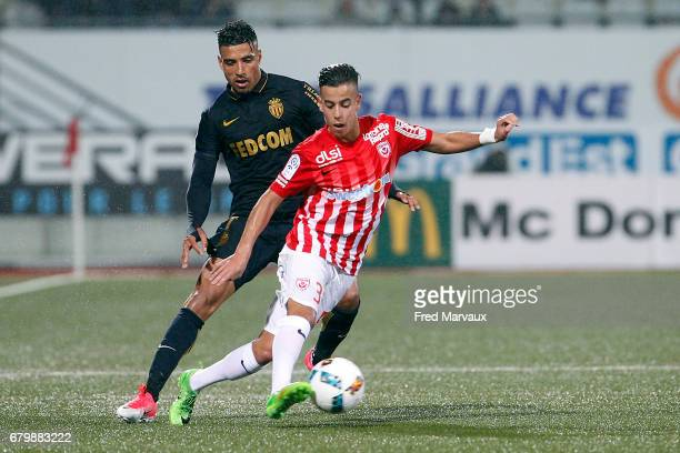 Nabil Dirar of Monaco and Amine Bassi of Nancy during the Ligue 1 match between As Nancy Lorraine and As Monaco at Stade Marcel Picot on May 6 2017...