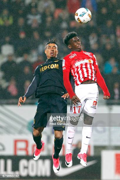 Nabil Dirar of Monaco and Faitout Maouassa of Nancy during the Ligue 1 match between As Nancy Lorraine and As Monaco at Stade Marcel Picot on May 6...