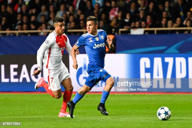 Nabil Dirar of Monaco and Paulo Dybala of Juventus during the Uefa Champions League match semi final first leg between As Monaco and Juventus FC at...