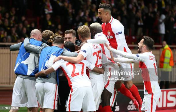 Nabil Dirar of Monaco and teammates celebrate the third goal during the UEFA Champions League quarter final second leg match between AS Monaco and...