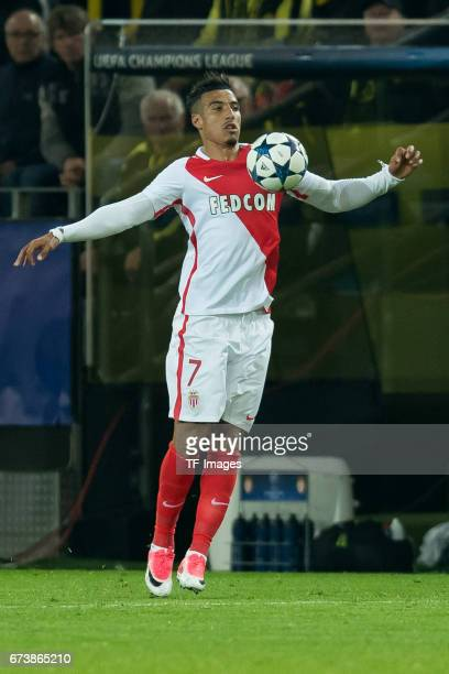 Nabil Dirar of Monaco controls the ball during the UEFA Champions League Quarter Final First Leg match between Borussia Dortmund and AS Monaco at...
