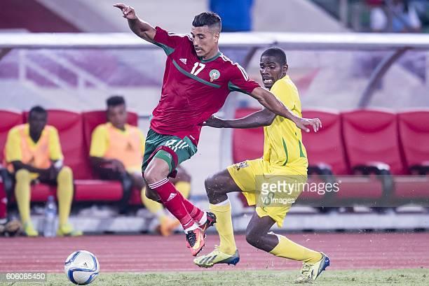 Nabil Dirar of Morocco Joazhifel Soares da Cruz Soua Pontes of Sao Tome e Principe during the Africa Cup of Nations match between Morocco and Sao...