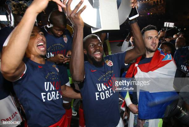 Nabil Dirar Tiemoue Bakayoko Danijel Subasico of Monaco during the French League 1 Championship title celebration following the French Ligue 1 match...