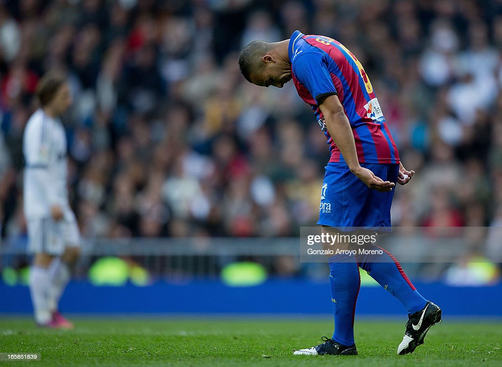 Nabil El Zhar of Levante UD reacts defeated during the La Liga match between Real Madrid CF and Levante UD at Santiago Bernabeu Stadium on April 6, 2013 in Madrid, Spain.