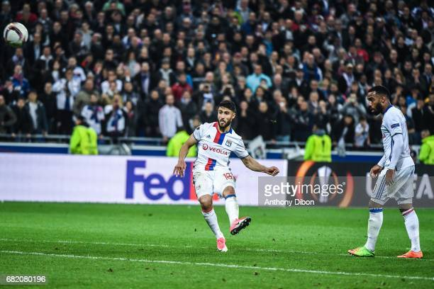Nabil Fekir and Alexandre Lacazette of Lyon during the Uefa Europa League semi final second leg match between Olympique Lyonnais Lyon and Ajax...