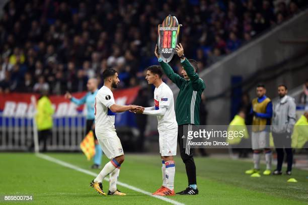 Nabil Fekir and Houssem Aouar of Lyon during the Europa League match between Lyon and Everton at Groupama Stadium on November 2 2017 in Lyon France